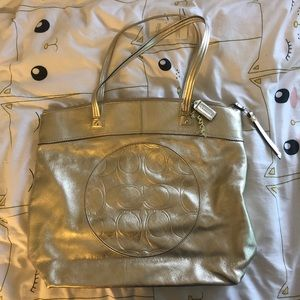 Coach Laura Gold Leather Tote NWT Metallic